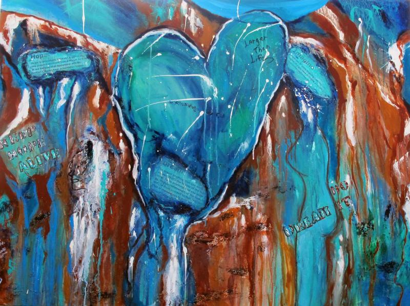 Dream,Imagine,Hope,blue,mixed media,canvas,acrylic,cool,hearts,figure,face